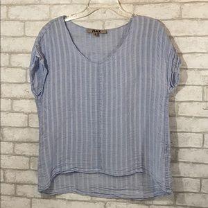 Flax light blue linen blouse size Small